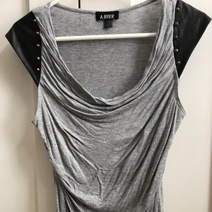 Grey ruching scooped top
